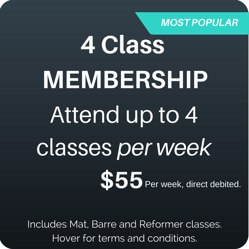 Valid for all classes including Reformer, Barre and Mat. Regardless of previous experience you must attend at  1 Beginner Reformer before attending open Reformer. Pre-requistes require to attend Jump classes.   $55 will be direct debited on a weekly cycle from the date of your purchase.  Minimum membership term is eight (8) weeks.  Cancel anytime after eight (8) weeks.  Option to suspend your membership when you go away.  View all the terms and conditions  at https://www.cgmpilates.com/4classmembership.