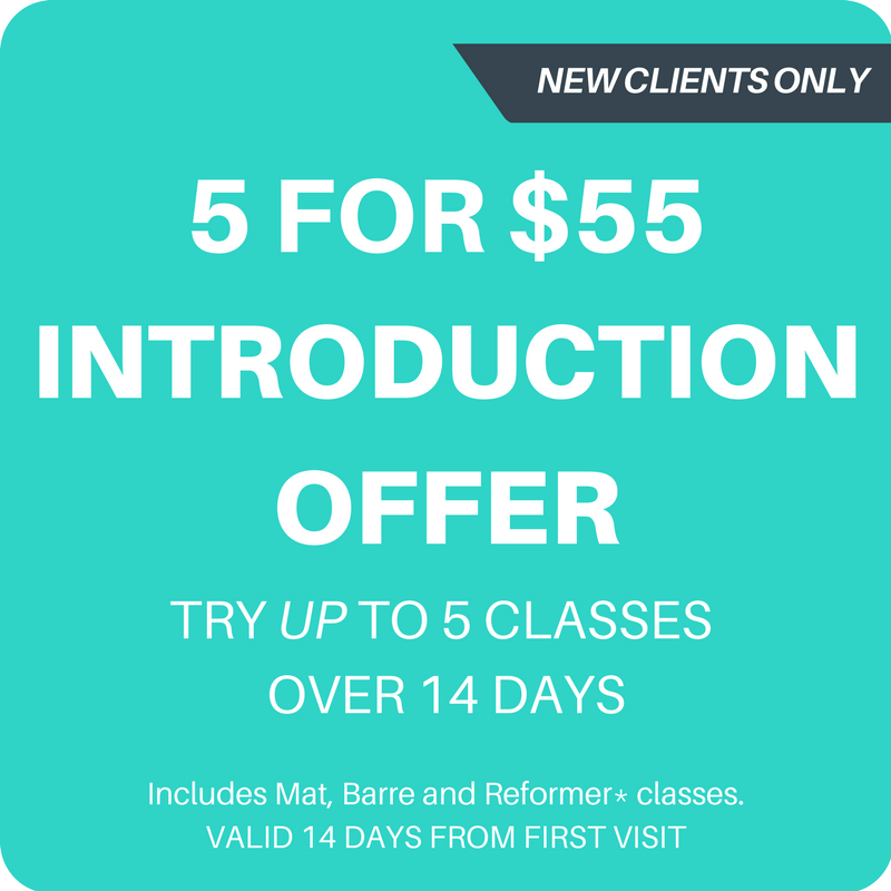 Valid for all classes including Reformer, Barre and Mat. Regardless of previous experience you must attend 1 Introduction class before attending Open Reformer. Your 14 days starts from the date of your first visit, not date of purchase. The introduction offer is limited to one per person. Visit https://www.cgmpilates.com/5for55intro for all terms and conditions.