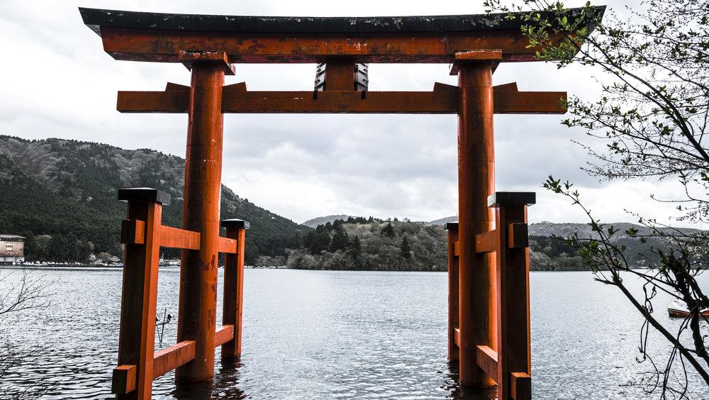Famous Torii gate in Hakone