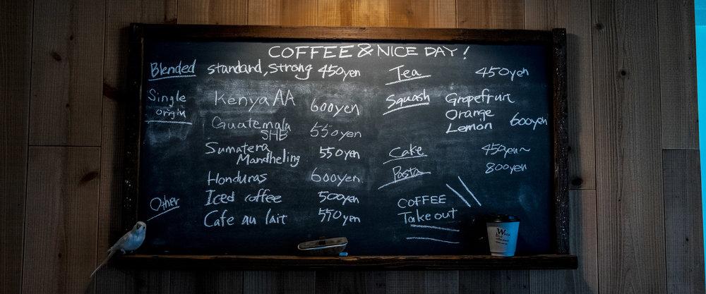 white bird coffee stand menu