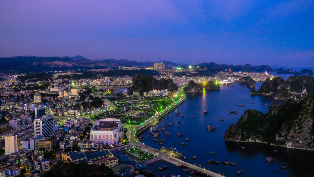 Ha Long Bay city view from Poem Mountain