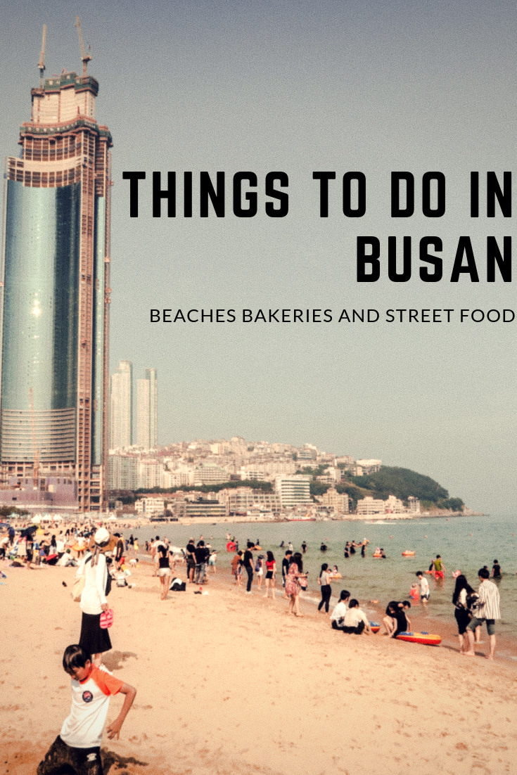 Things to do in Busan South Korea. Visit Haeundae beach, eat some delicious street food. Hawkers sell Korean fried chicken at the beach here. Try some pastries at the  delicious OPS bakery.