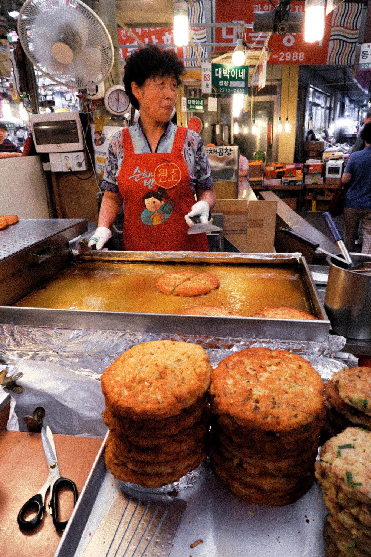 Buchimgae in Seoul. Korean pancake.