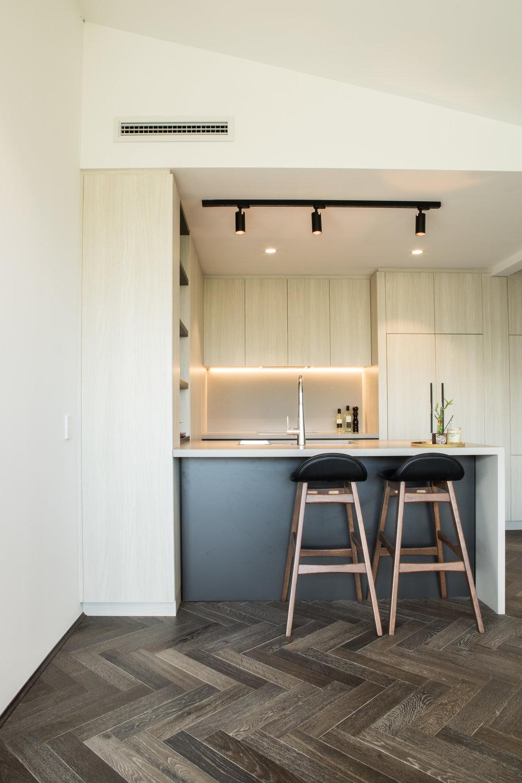 Parallel Apartments Display Suite - Hillam Architects |Herringbone custom stain