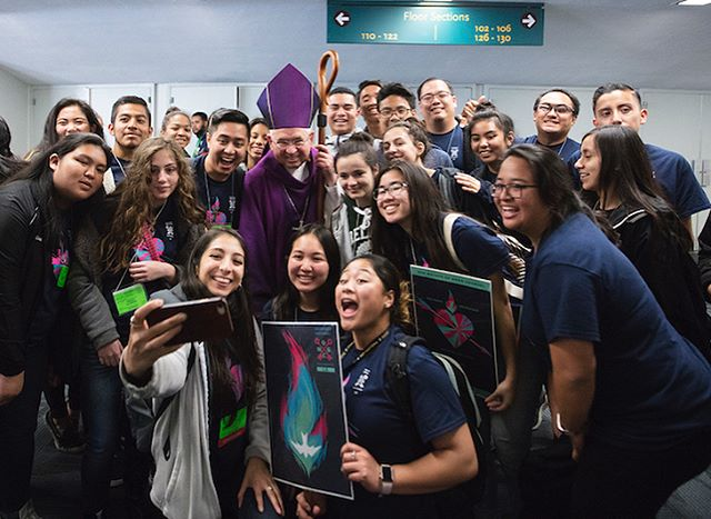 #tbt our third year of taking a selfie with @archbishopgomez! ##OMGCYouth #LaYouthDay #DareToBelieve