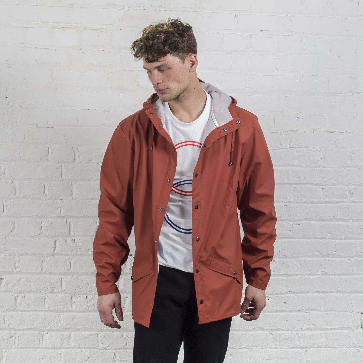 Rains' waterproof jacket - Rust — Plain Bear