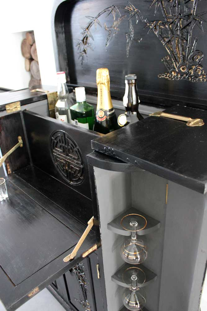 The perfect chateau rental with cocktail cabinet