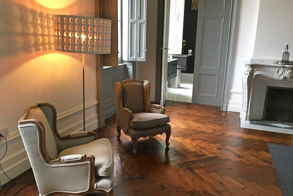 Rent a French Chateau with parquet flooring