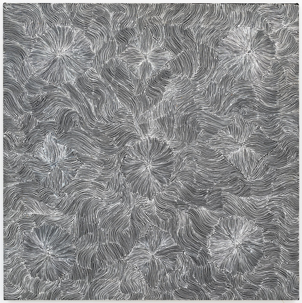 Susie Petyarre, Flowers at Enteebra, Acrylic on linen, 90 x 90 cm, 2011