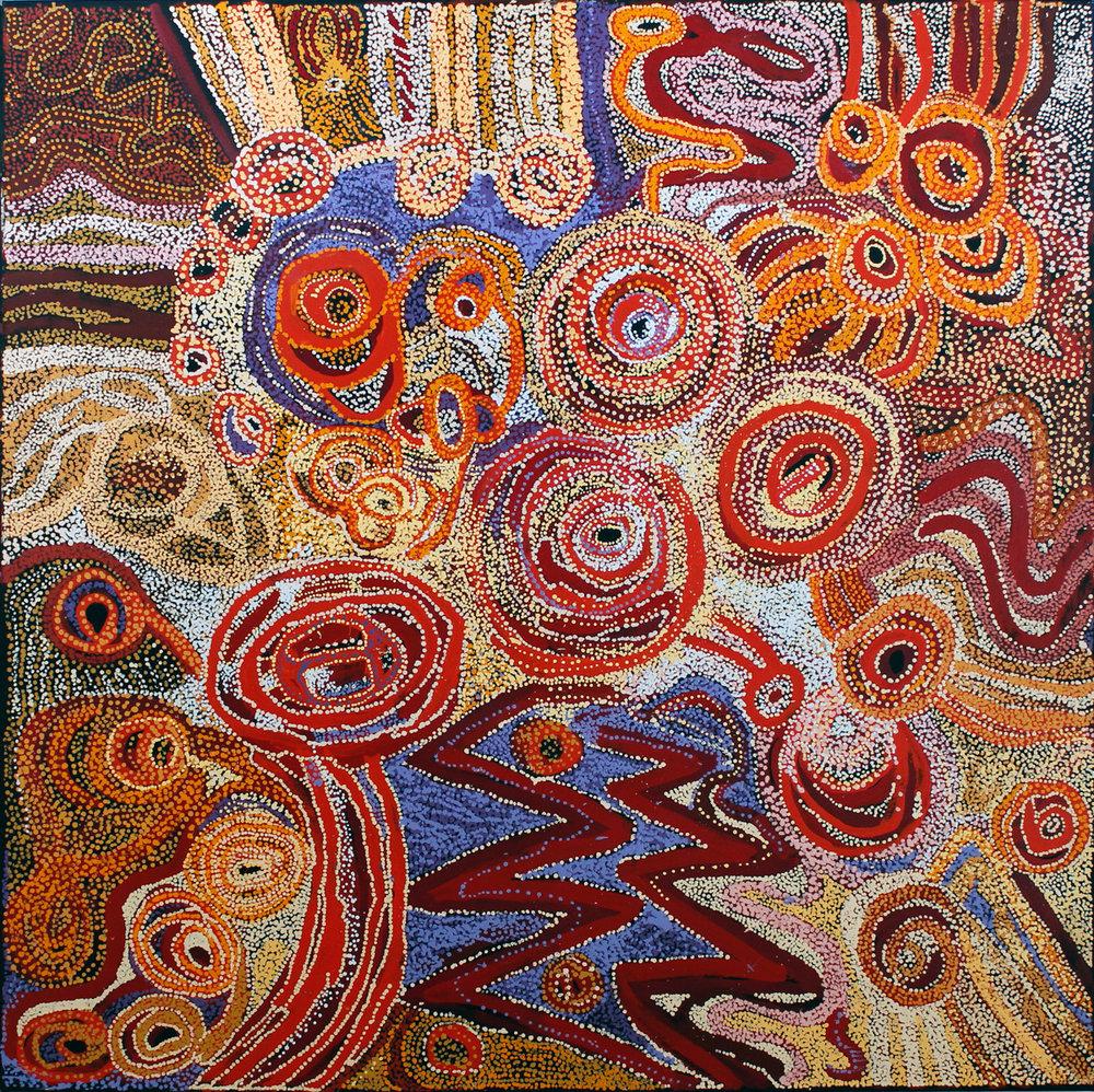 Yaritji Young, Tjala Tjukurpa, acrylic on linen, 198 x 198 cm