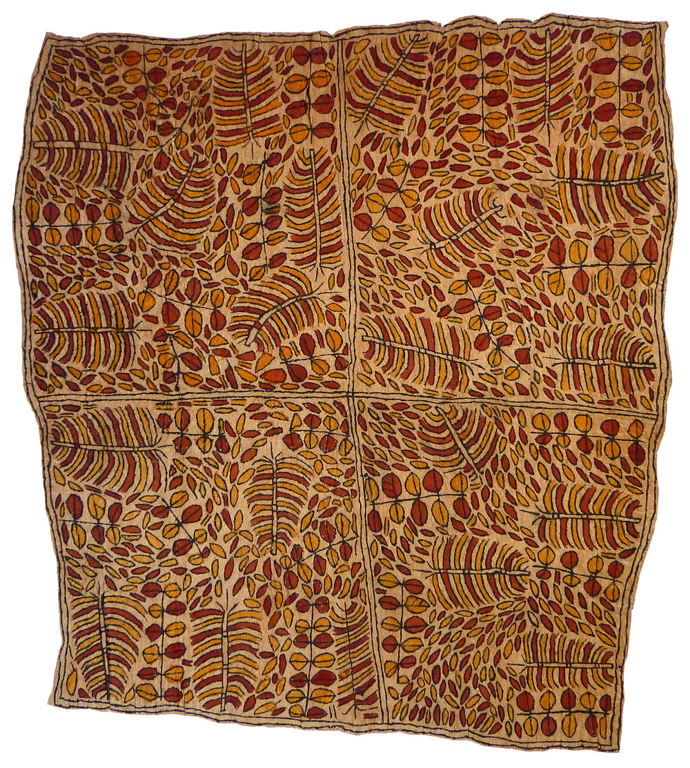 Martha-Jean Uhamo (Dogarine)    Misai ohu'o Samwé han'e   Misaje clan emblem of the river plant and leaves of the Samwe tree  85 x 76cm  Natural pigments on nioge (barkcloth), 2015