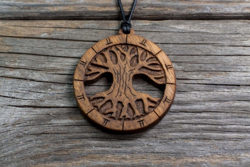Oak   Tree of Life Series   Hand Carved Wooden Pendant   Handmade Wooden Necklace