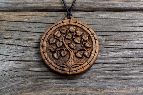 Linden cerris design studio fine hand carved wooden jewelry linden tree of life series hand carved wooden tree pendant fine hand carved aloadofball Image collections