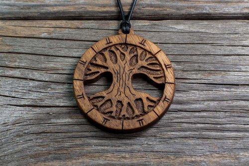 Oak cerris design studio fine hand carved wooden jewelry oak tree of life series hand carved wooden tree pendant fine hand carved aloadofball Choice Image