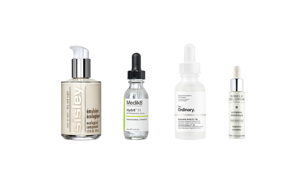 SISLEY ECOLOGICAL COMPOUND,  AROMATEQUE.COM.UA, 4264 ГРН ; MEDIK8 HYDR8 B5,  TEREZA-SHOP.COM.UA, 1848 ГРН ; THE ORDINARY HYALURONIC ACID 2% + B5,    CULTBEAUTY.CO.UK, 5.90 ФУНТОВ ;   GISELE DELORME PREVENTION SERUM, СПРАШИВАЙТЕ В SPA AT HILTON KYIV