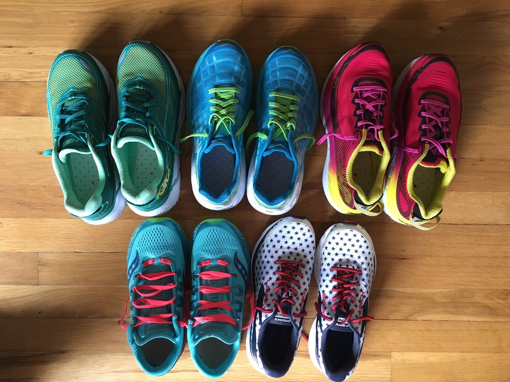 Pictured from top left, going clockwise:  Hoka Clifton 3, Hoka Clayton, Hoka Bondi 5, Brooks Launch 3, Saucony ISOFreedom