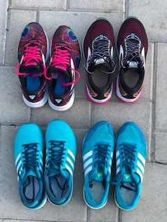 Clockwise from top left:  Brooks Launch 4, Brooks Ghost 10, Adidas Adios Boost 3, Adidas Boston Boost 6