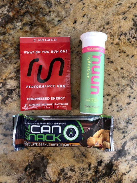 My long run essentials!  Generation UCAN Chocolate Peanut Butter bar and Nuun Watermelon hydration tablet pre-run, Run Gum Cinnamon flavored gum chewed during the second half of the run.