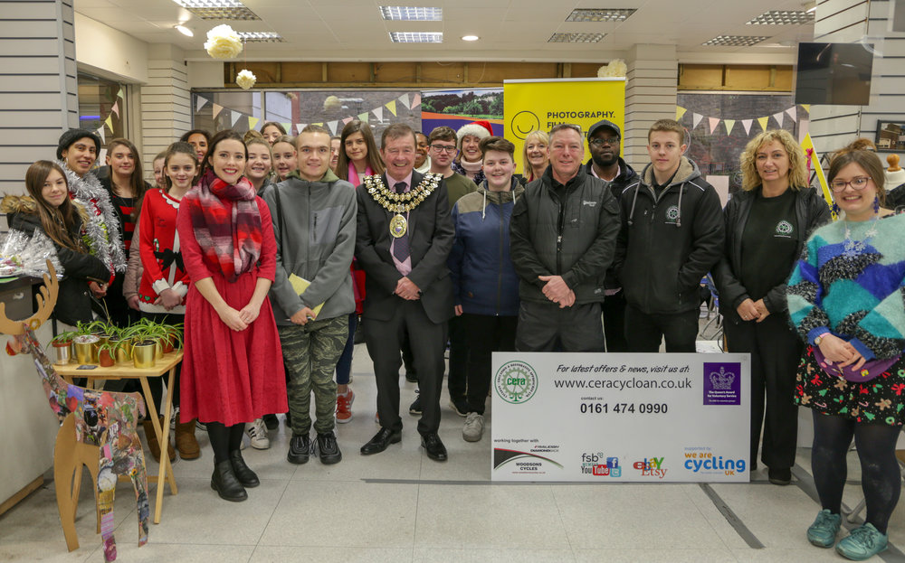 SAZ MEDIA CLUB and partners at the festive celebration event in Merseyway shopping centre.
