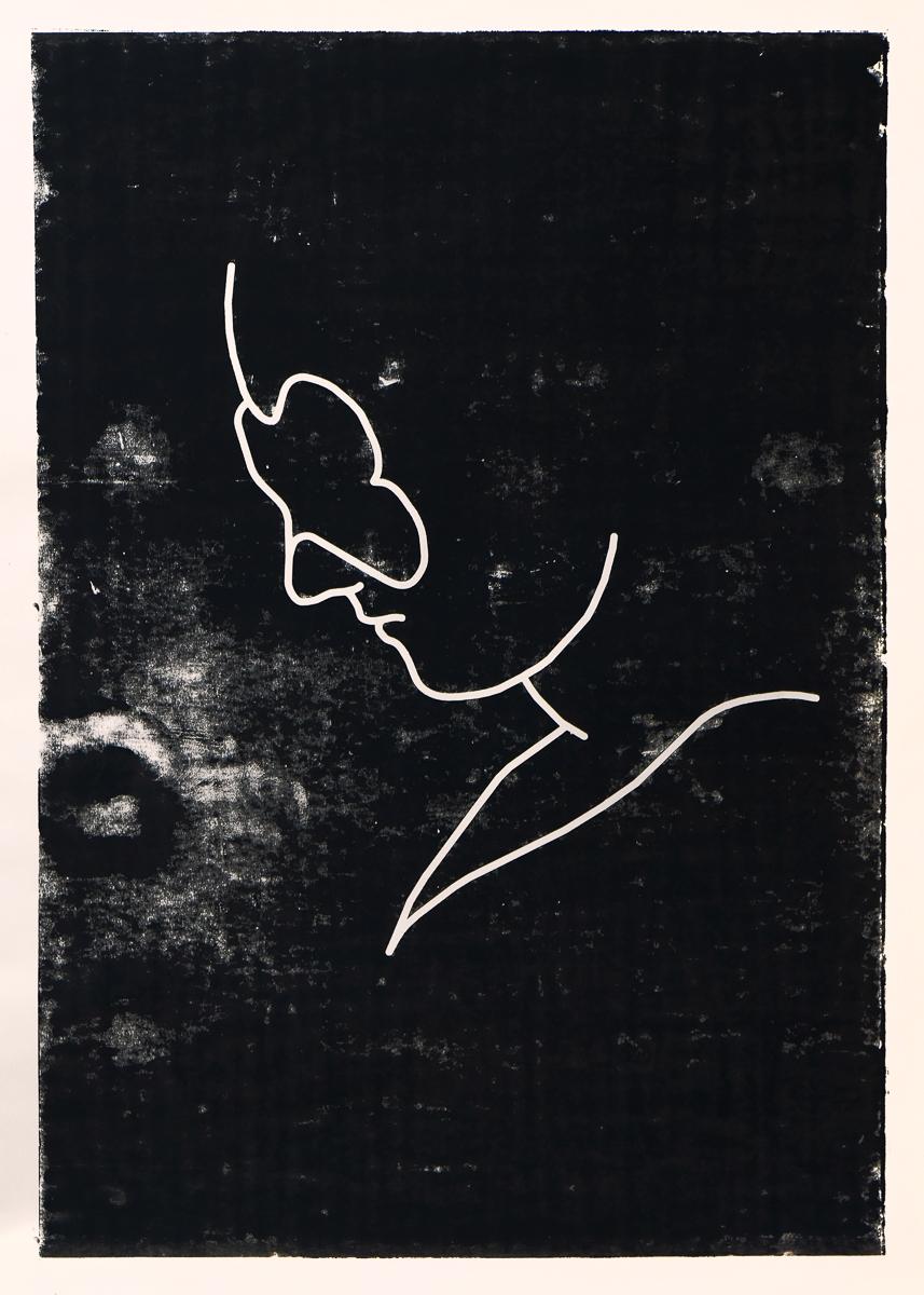 Maske: woodcut/paper, 160 x 120 cm, 2008