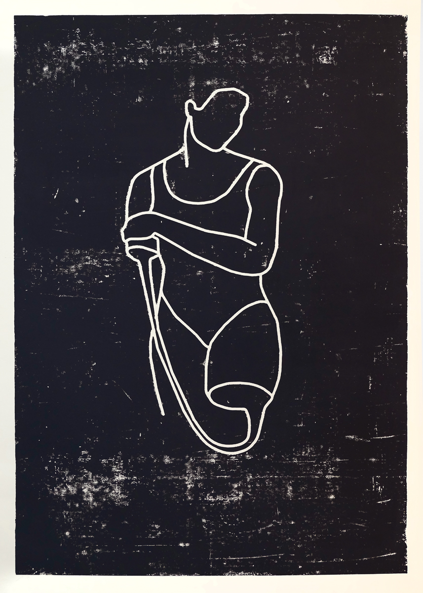 Gymnastik: woodcut/paper, 160 x 120 cm, 2008