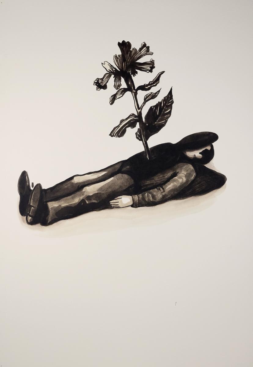 Lungenkraut: ink/paper, 170 x 120 cm, 2011