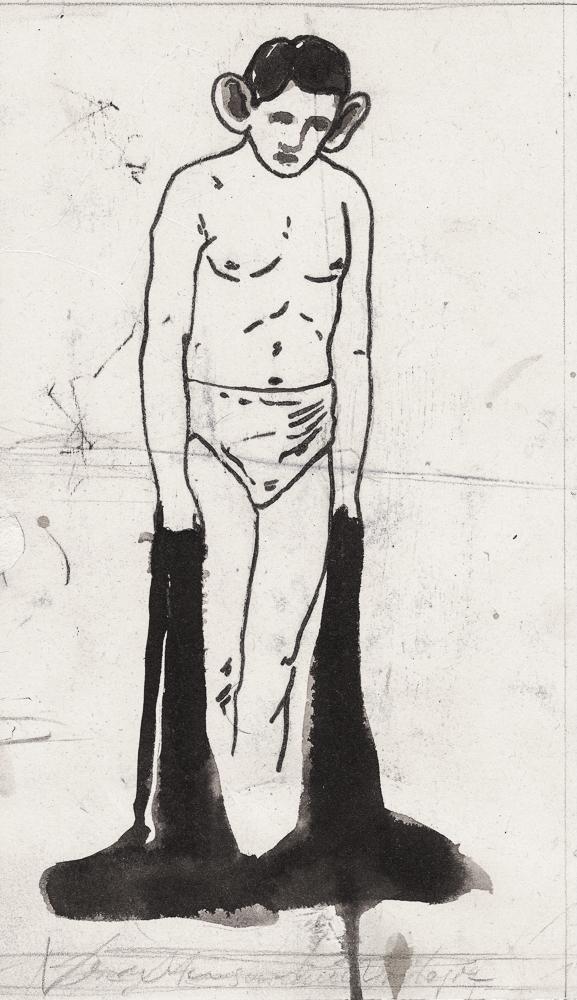 Ölhand: ink, oilstick/paper, 2011