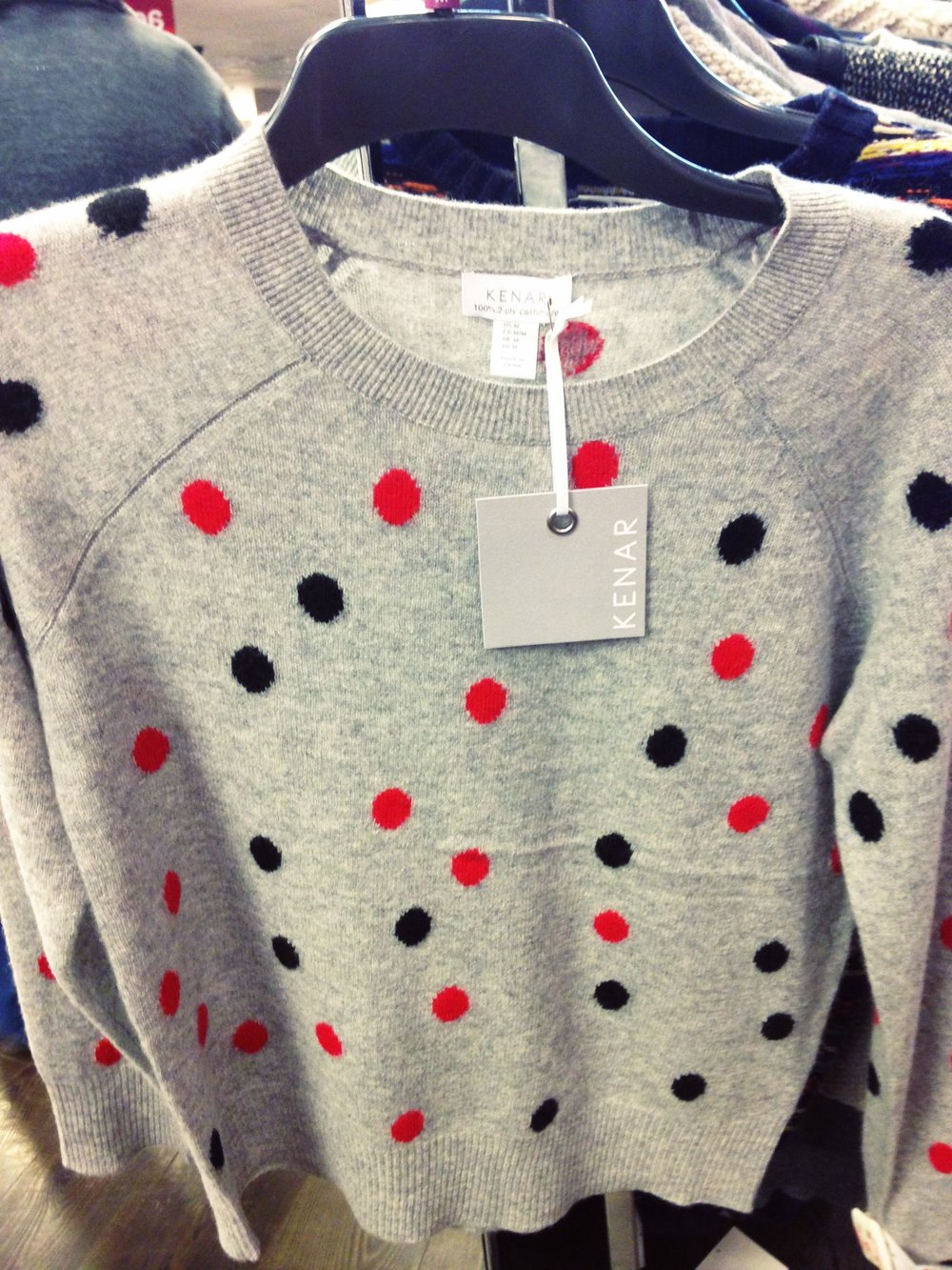 TK Maxx! Lovely cashmere sweater, pale grey with polka dots by Kenar. €69.99