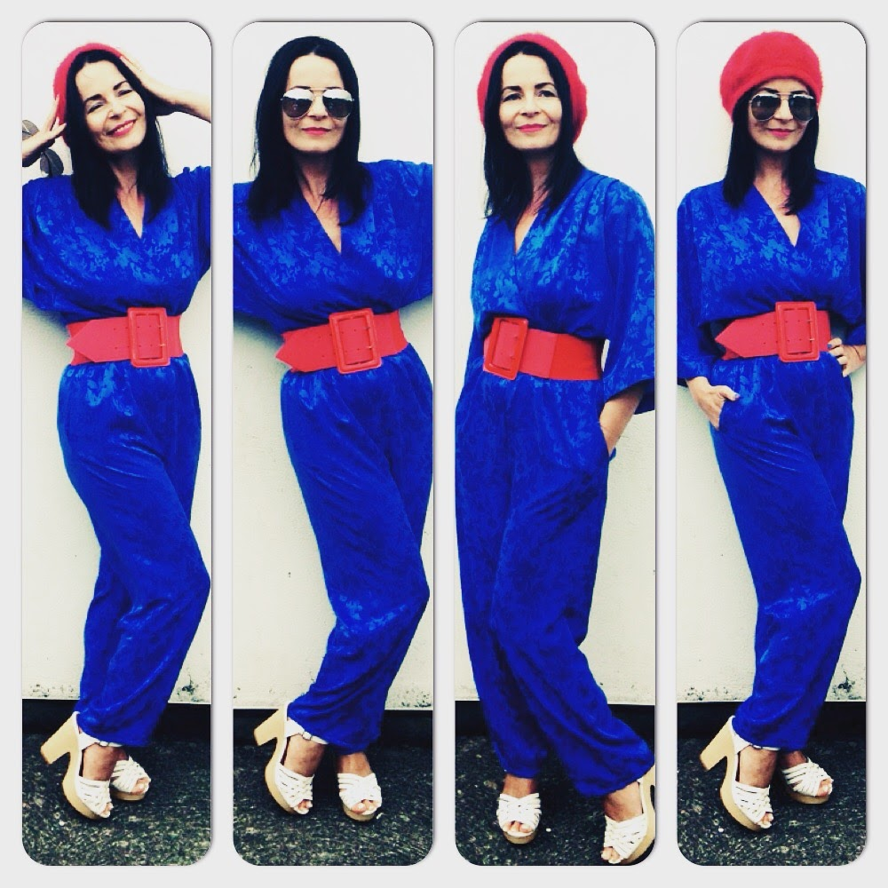 Another 80's vintage gem. Royal blue jumpsuit paired with red beret and belt make this a real colourfest!