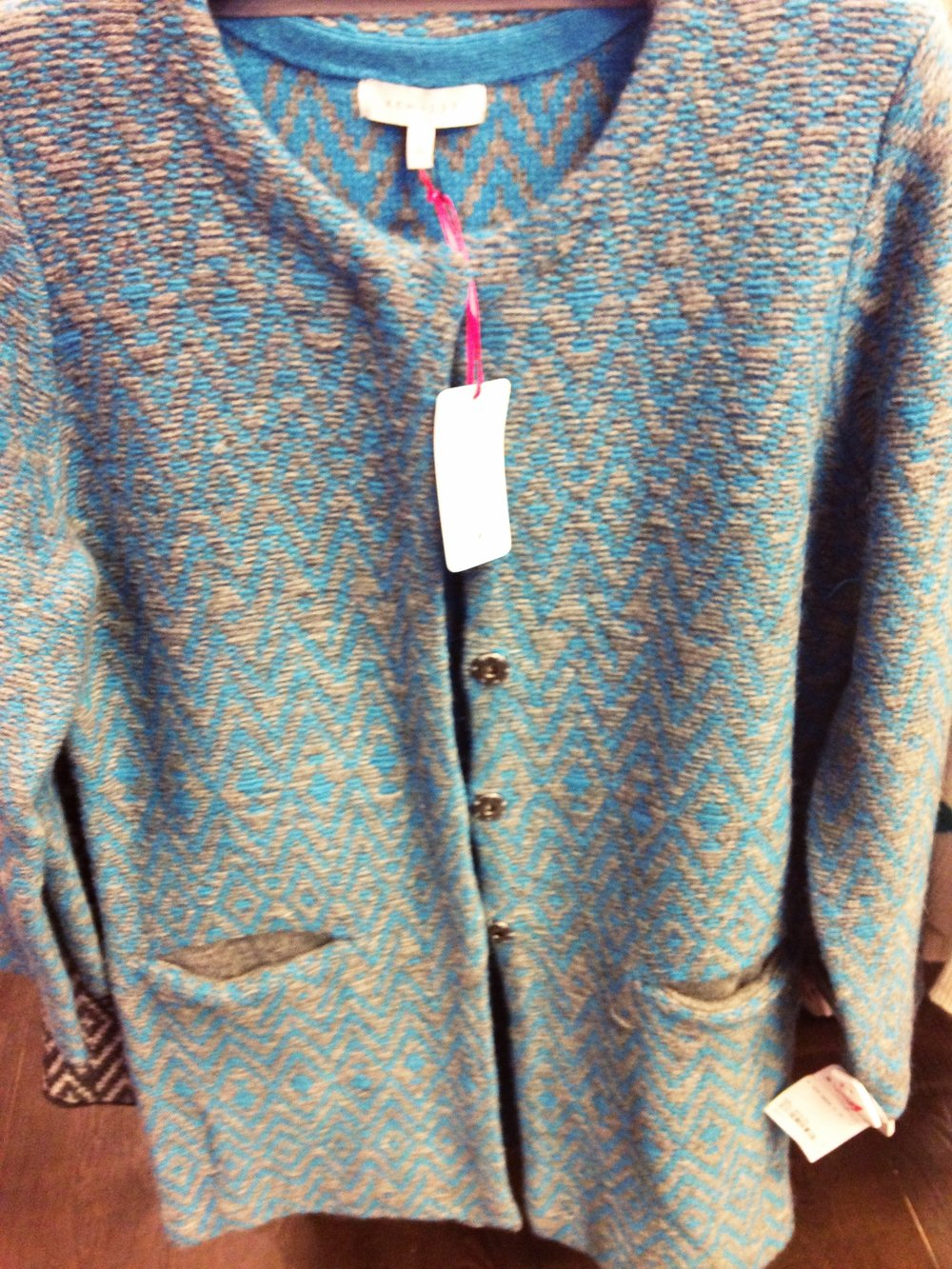 TK Maxx! Long line knitted jacket in blue and grey by Kew.159. Good value at €54.99