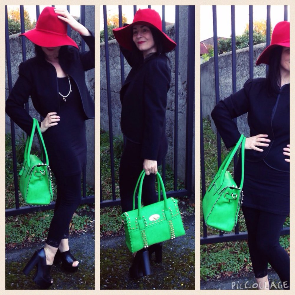 Colourful Accessories! Vintage inspired 70's red hat and bright green modern bag make this all Black ensemble POP!
