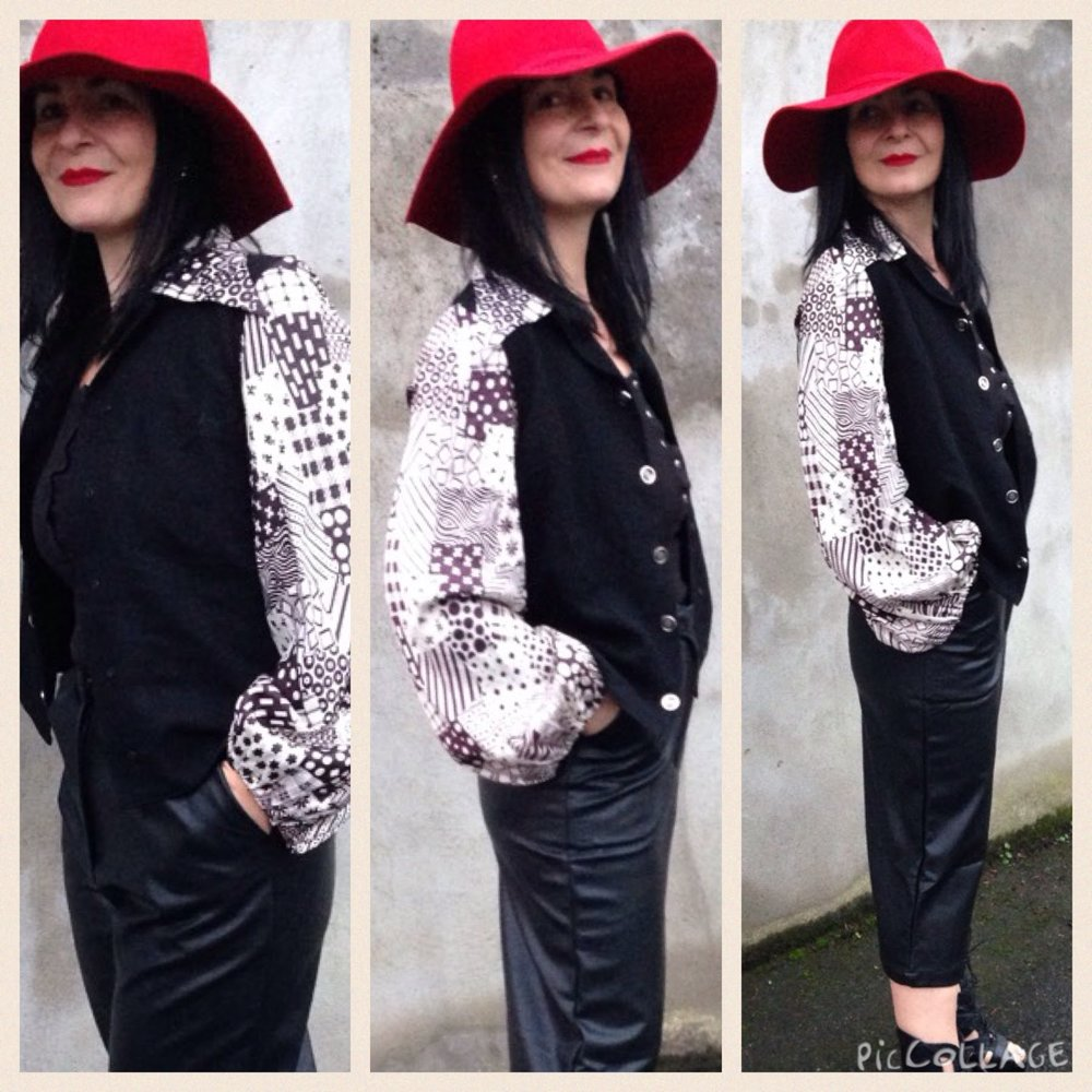 Gorgeous 70s black wool and satin sleeved monochrome printed sleeves. Fab! Tola kilo sale Dublin.