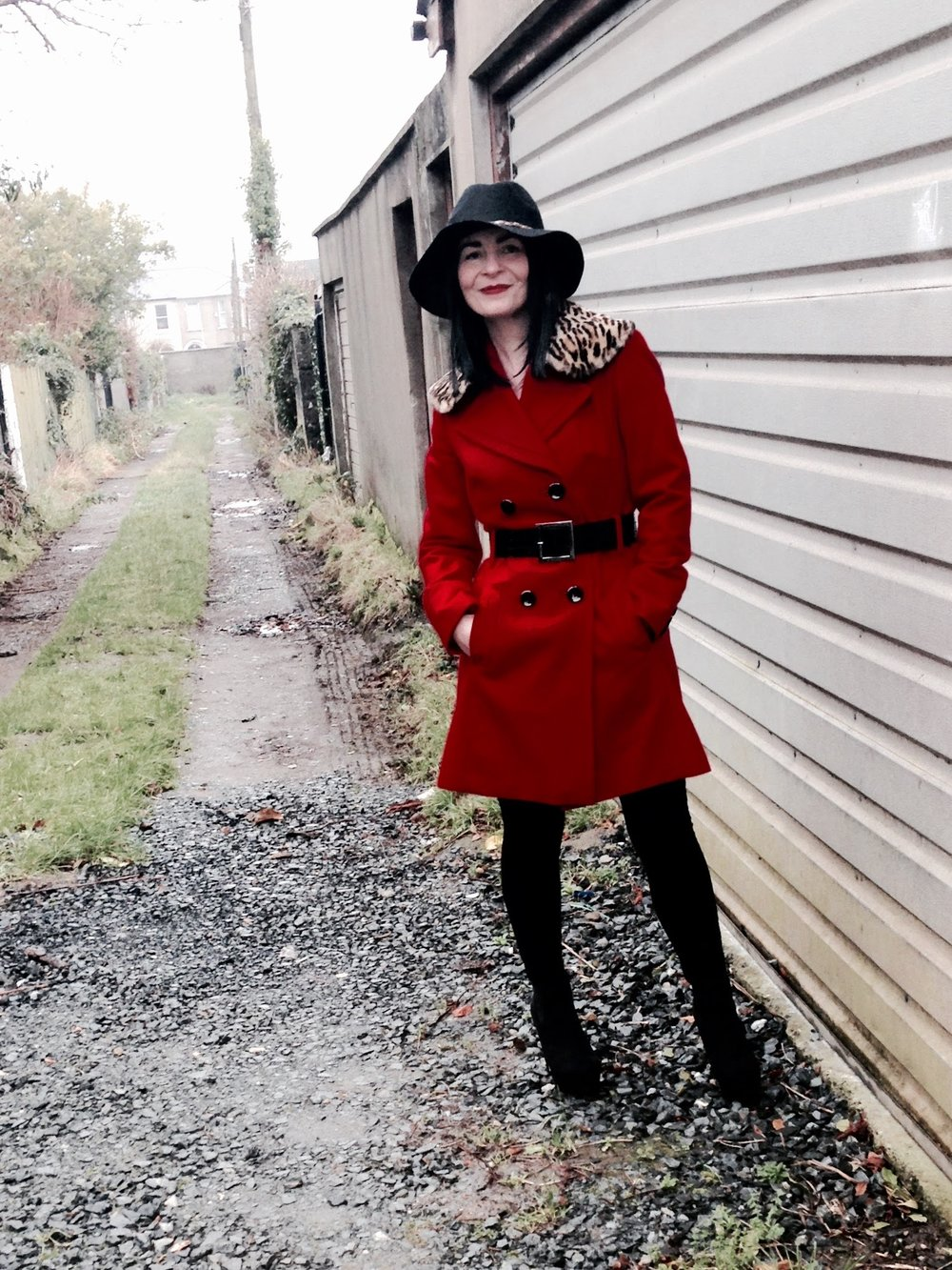 Amazing Red knee length coat with wide wasp belt!