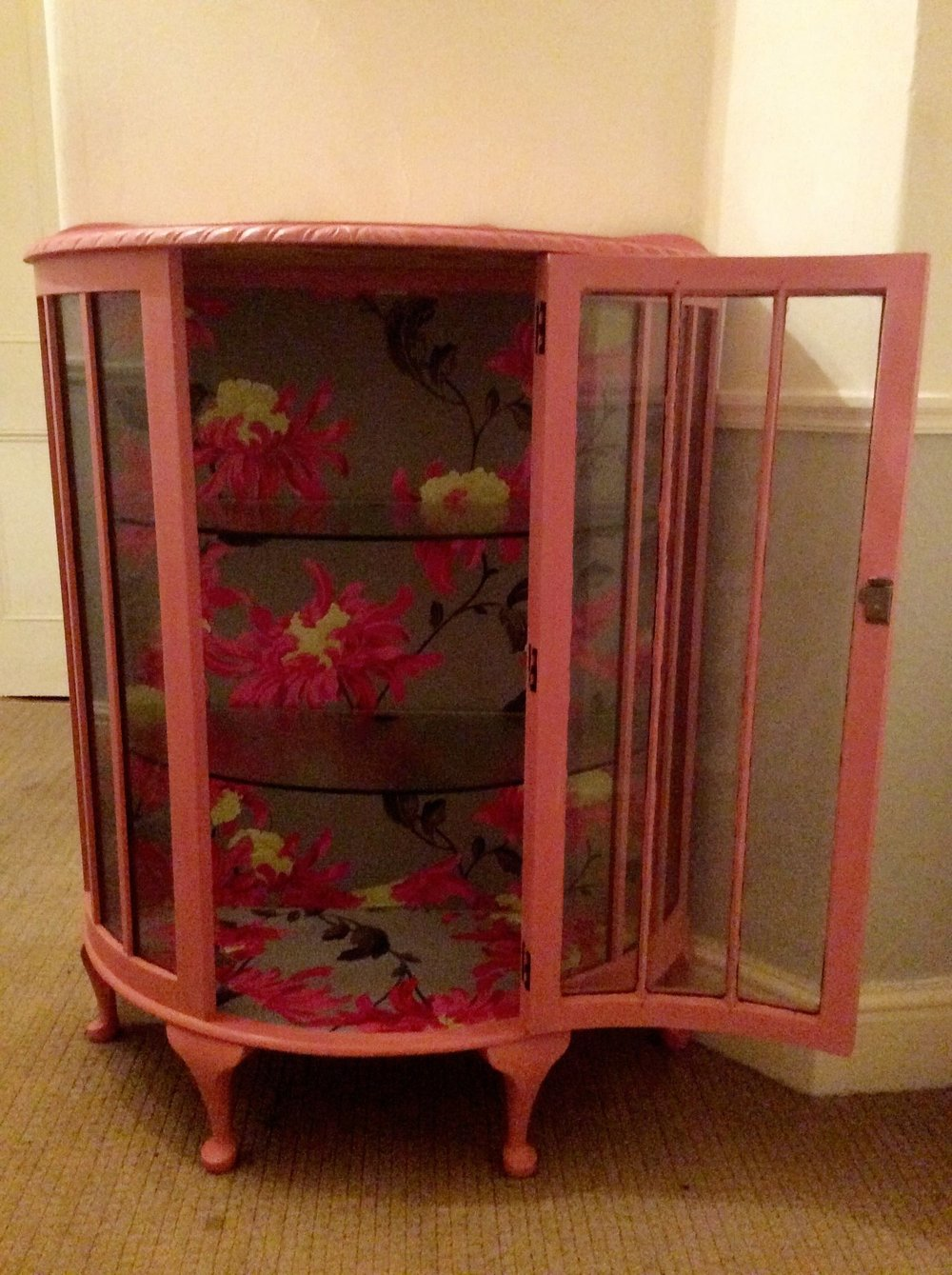 I wall papered the inside with a complimentary design.