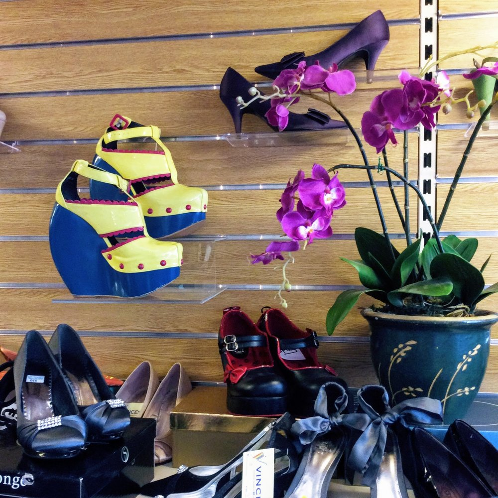 Funky shoe display at St Vincent de Paul charity shop in Abbeyleix