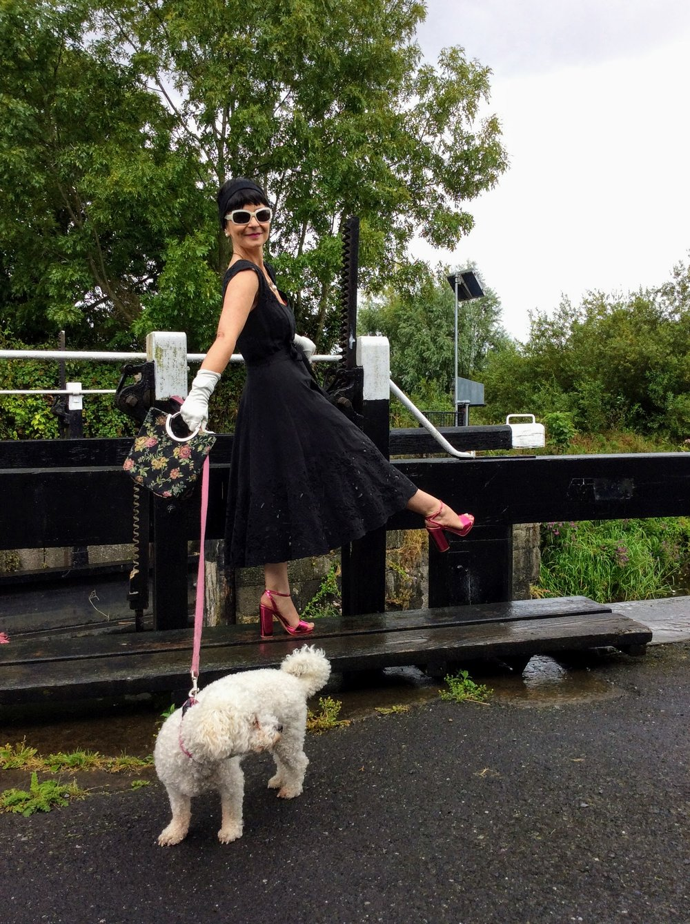 Me and my pooch... Sandals €10 in summer sale 2017. Little floral bag i picked up in a charity  shop.