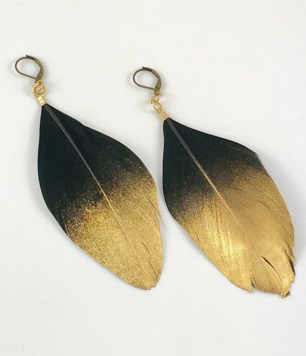 Crunchy Diva Designs Gold Dipped Duck Feather Earrings.jpeg