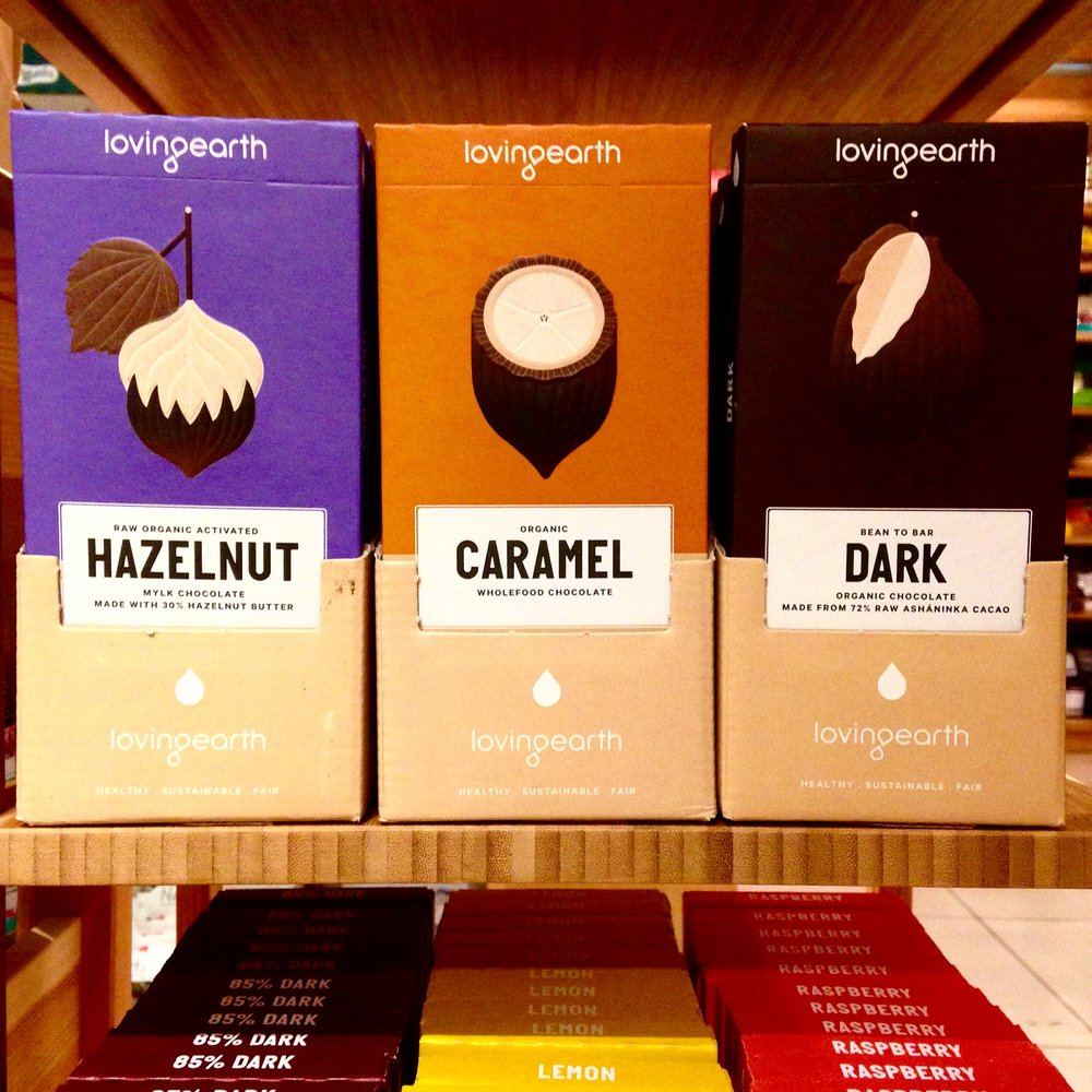 Some of the delicious range of Loving Earth organic chocolates.