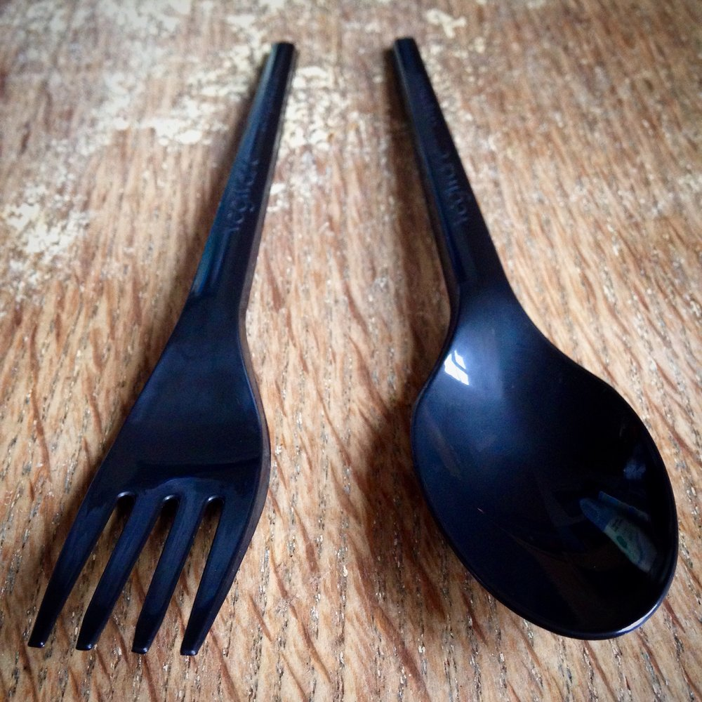 Vegware compostable fork and spoon.
