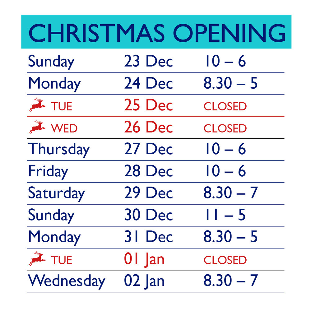 Christmas 2018 Opening Hours.