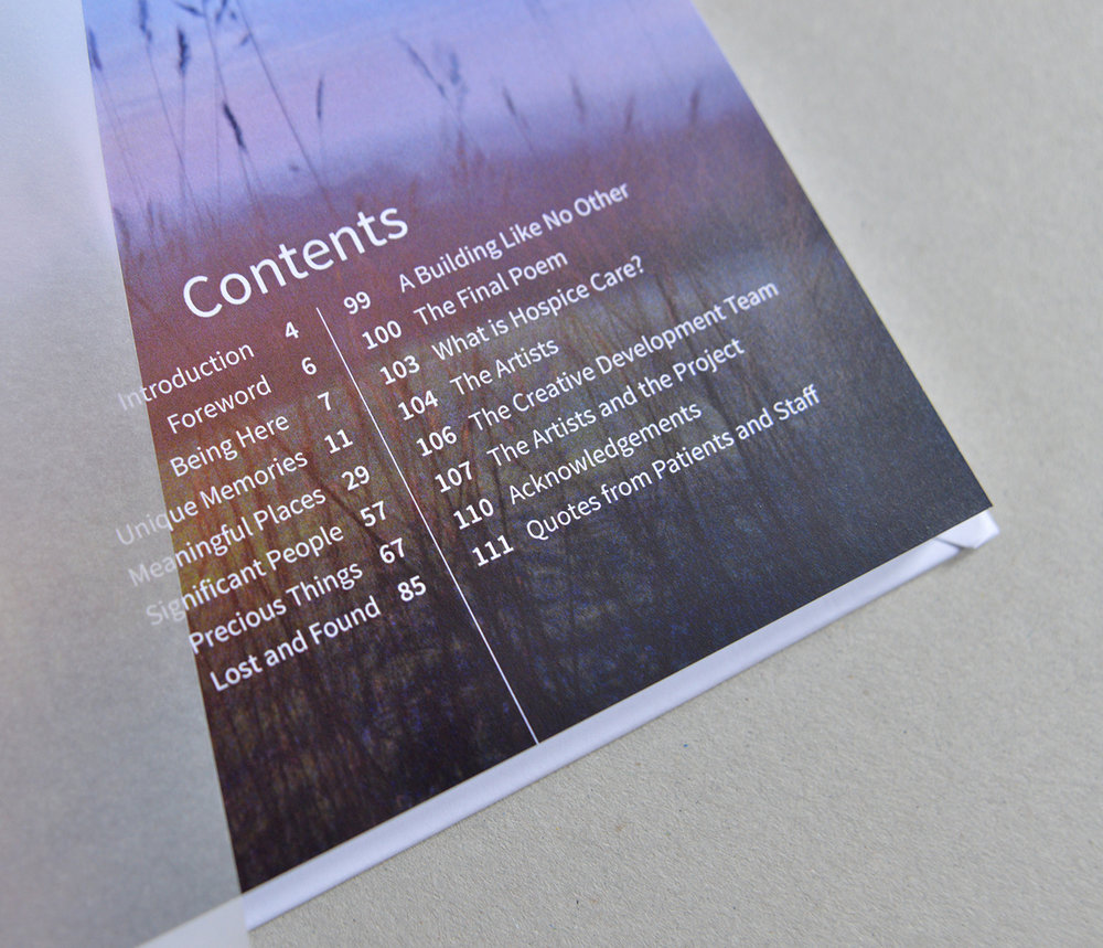 Contents page of the book 'Being Here' published as part of an arts and health project for St Giles Hospice