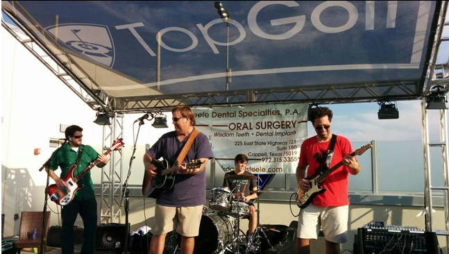The Bird Dogs play the Taylor's Gift Top Golf Tournament, with Taylor's brother, Ryan, on drums.