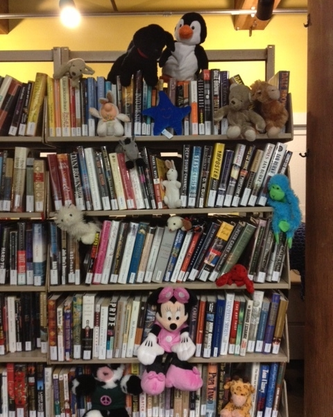 Stuffies on the Bookshelf.JPG