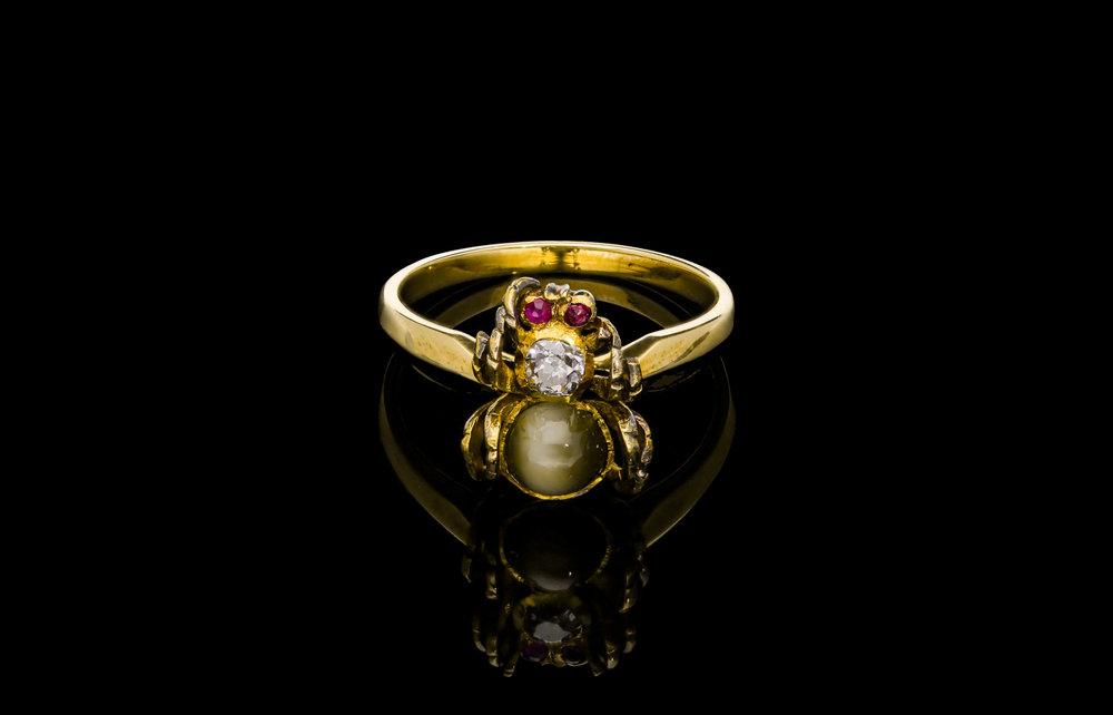 An exceptional Edwardian Columbian emerald and diamond three stone ring set   £1990