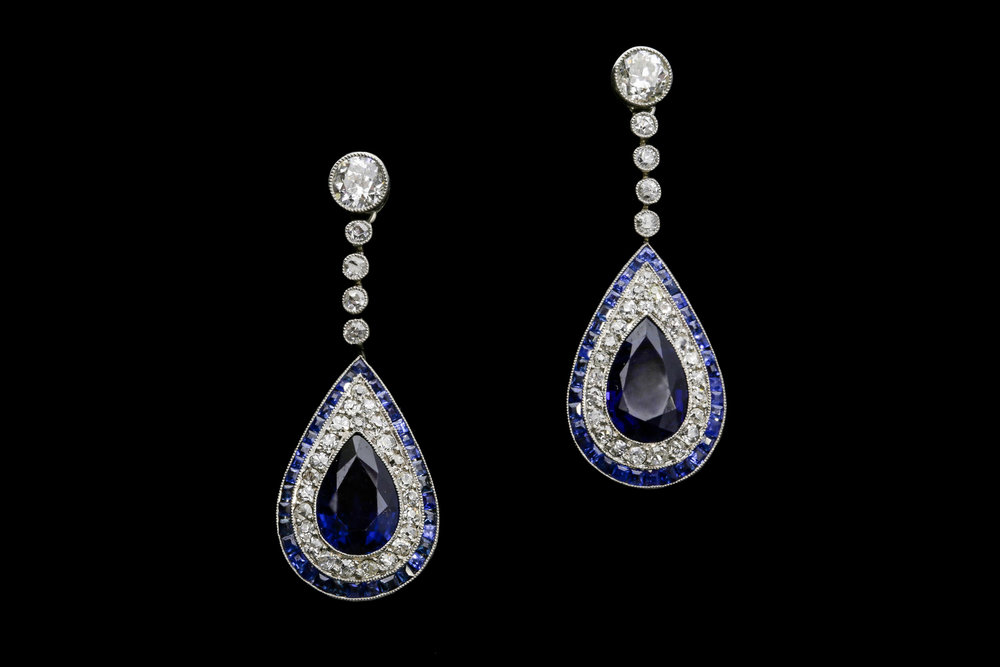 A pair of peerless French Art Deco sapphire and diamond teardrop earrings set | £26250