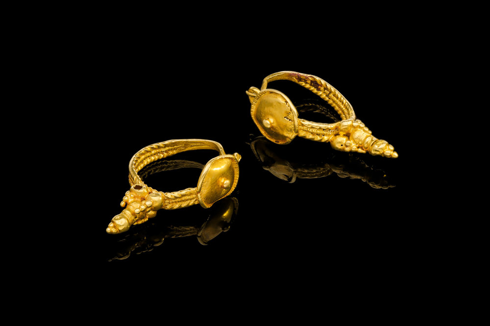 A pair of original 1st to 2nd century AD Roman gold earrings   £5000