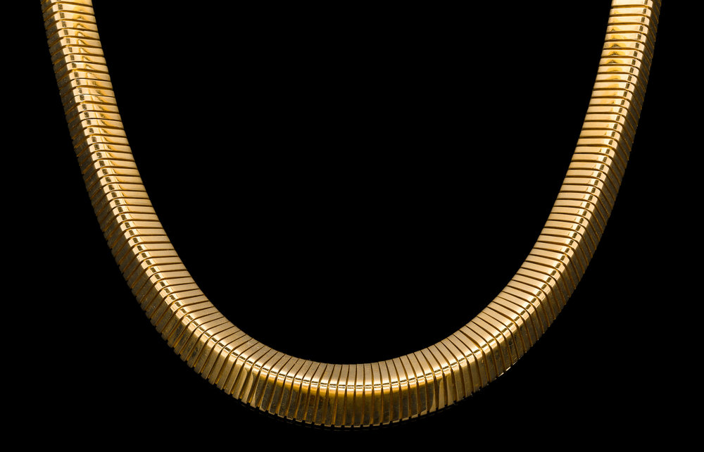 A magnificent 1960's 18ct yellow gold triangular French tubogas necklace | £10250