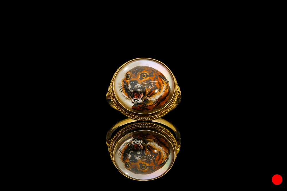 A fantastic early Victorian Essex crystal tiger ring set   £3850