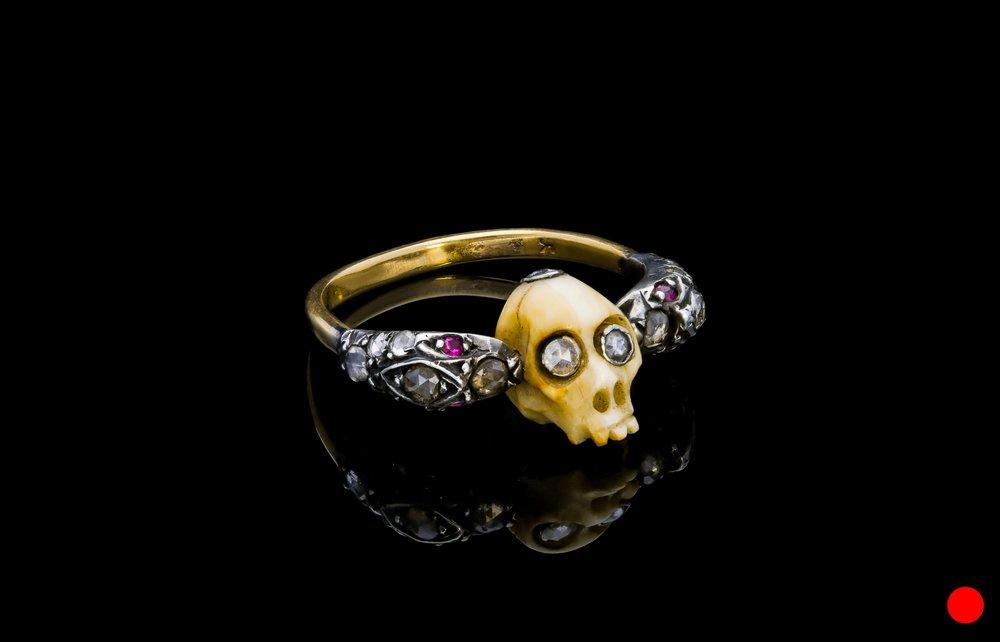 An outrageous Victorian bone skull ring set   £3750