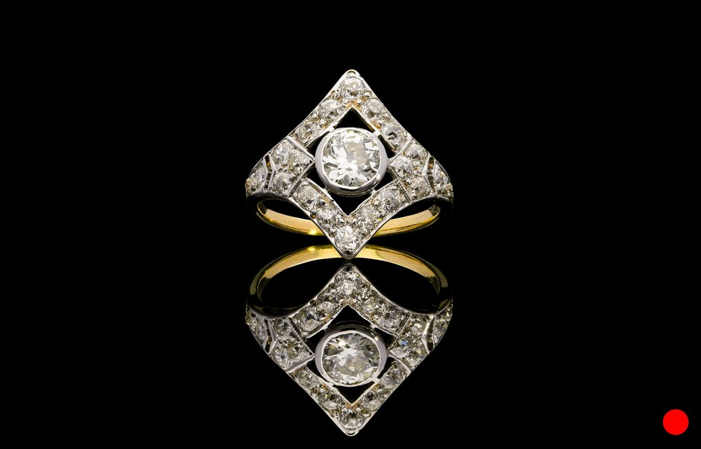 An Edwardian Old European shield ring   £5950
